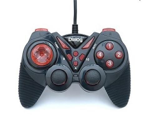 Dialog Action GP-A13, черно-красный Геймпад, вибрация, 12 кнопок, USB