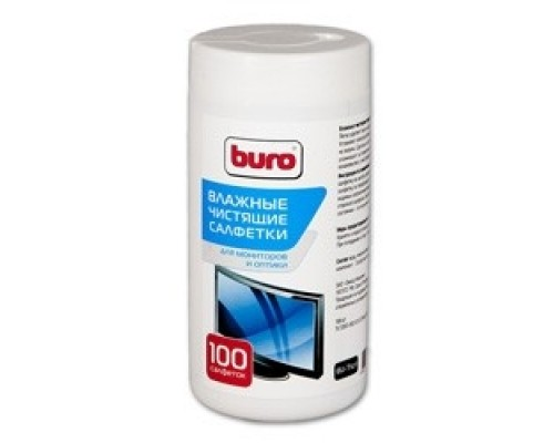 Чистящие средства BURO BU-TSCRL 817440 Туба чистящими салфетками, для экранов оптики, 100 шт.