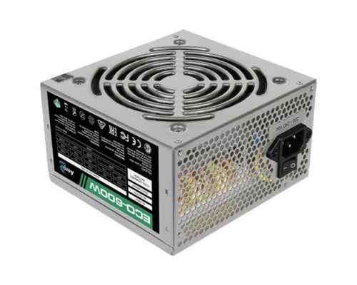 Aerocool 600W Retail ECO-600W ATX v2.3 Haswell, fan 12cm, 400mm cable, power cord, 20+4P, 12V 4+4P, 1x PCI-E 6+2P, 4x SATA, 3x PATA, 1x F