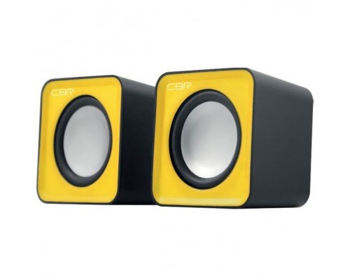 CBR CMS 90 Yellow, Акустическая система 2.0, питание USB, 2х3 Вт (6 Вт RMS), материал корпуса пластик, 3.5 мм линейный стереовход, регул. громк., длина кабеля 1 м, цвет жёлтый